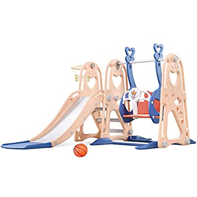 Toddler Slide and Swing Set, 4 in 1 Kids Play Climber Slide Playset Indoor and Outdoor Playground, Slides for Kids Easy Climb Stairs Easy Set Up with Basketball Hoop Extra Ball (Pink&Blue) from Aneken
