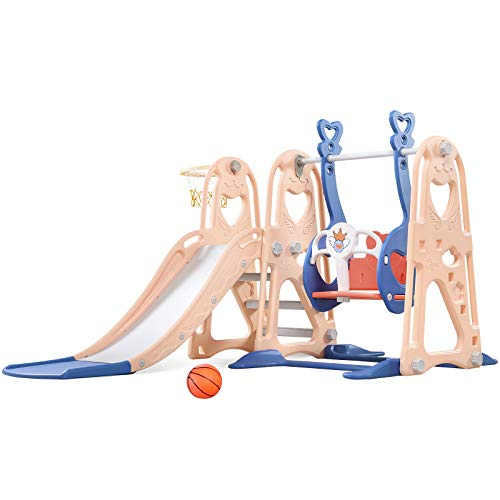 Toddler Slide and Swing Set, 4 in 1 Kids Play Climber Slide Playset Indoor and Outdoor Playground,...