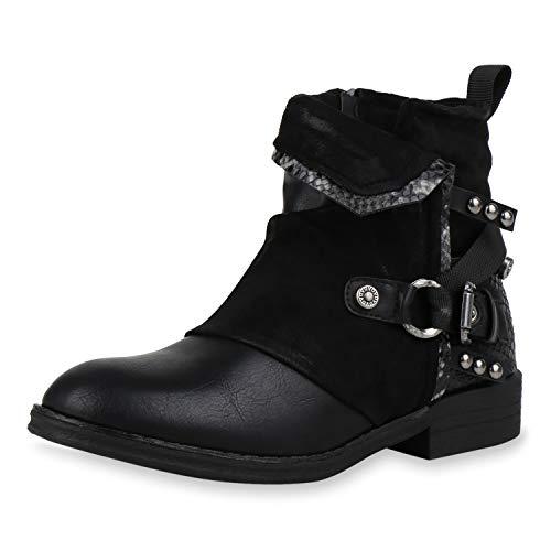 SCARPE VITA Damen Stiefeletten Biker Boots Leicht Gefütterte Booties Snake Prints Leder-Optik Schuhe Nieten Schnallen Motorradschuhe 186701 Schwarz Snake 36