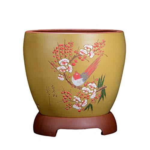 YLE Amarillo Macetas Suculentas Ceramica con Orificio de Drenaje Hecho a Mano Macetas Colgantes Ceramica para Cactus Ø 29 cm x H 30 cm