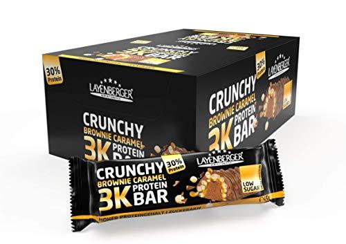 Layenberger 3K Protein Bar Crunchy Brownie Caramel, Protein Riegel mit viel Eiweiß und wenig Kohlenhydraten, nur 1,5 g Zucker, (15 x 45g)