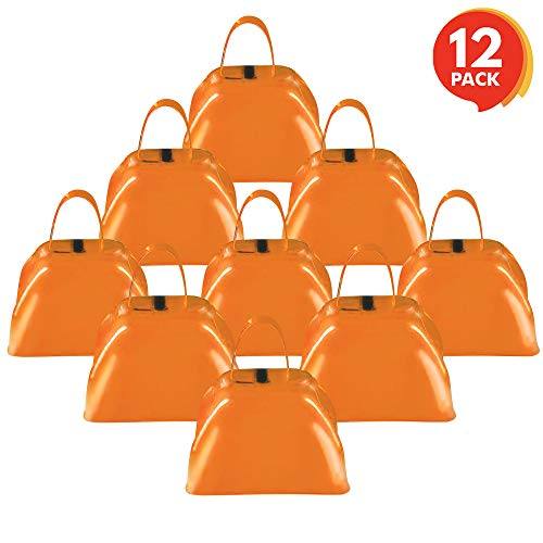 Check Out This ArtCreativity 3 Inch Orange Metal Cowbell Noisemakers - Pack of 12 - Loud Metal Cowbe...