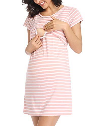 Ritera Umstandsnachthemd/Still-Nachthemd Kurzarm Streifen mit Knopfleiste für Schwangere Frauen Sommer, Pink,M