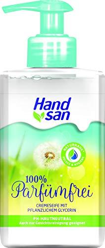 Handsan Crèmezeep parfumvrij dispenser verpakking van 3, 100% parfum-, zeep- en kleurstofvrij, ook geschikt voor gelaatsreiniging, VEGAN (3 x 300 ml)