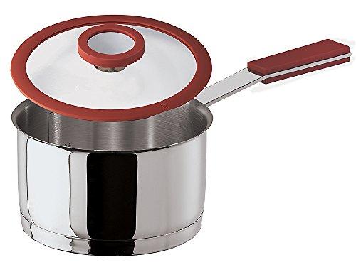 Sambonet 12 O'Clock Casserole haute 1 poignée, avec couvercle, acier inoxydable, rouge, 12 cm