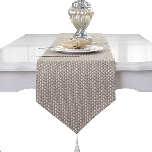 Beige Creme handgemachte Webart Hause dekorative Partygeschenk Quaste Tischläufer 33cm x 180cm