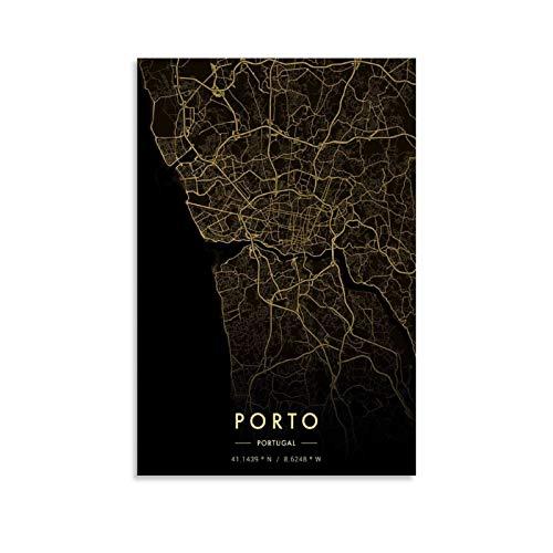 xuyang Stadtkarte Gold, Porto Stadtkarte Gold Poster Dekorative Malerei Leinwand Wandkunst Wohnzimmer Poster Schlafzimmer Gemälde 50 x 75 cm