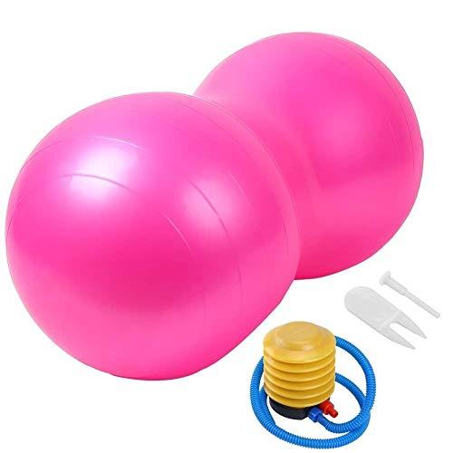 LHZHG Pelota de Gimnasia Cacahuete Forma Anti-Burst Balón Fitness Pelota cómoda Durable Adelgazar Ejercicio Gimnasio Rehabilitación Formación Bola de la Yoga para Mujer Hombres niños (Color : Rosado)
