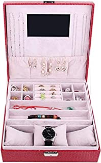 Red leather accessories organizer box