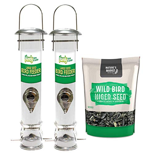 2 x Handy Home and Garden Large Deluxe Wild Bird Seed Feeders with 0.9KG bag of Niger Seed Feed