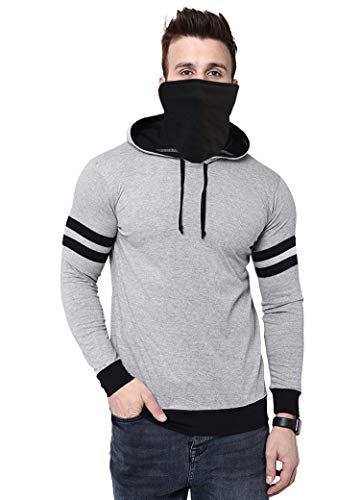 THE ARCHER Solid Men Hooded Neck T-Shirt (Grey, Small)