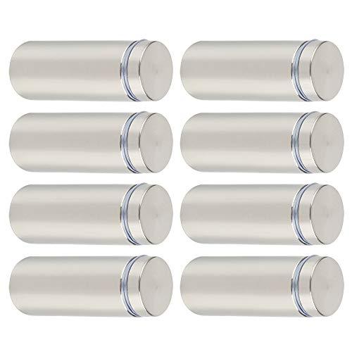 SAYAYO Glas-Abstandshalter für Werbung, Nägel, Schild-Halterungen, Befestigungsschrauben, 19 mm x 50 mm, Edelstahl gebürstet, 8 Stück, EQK19X50-8P