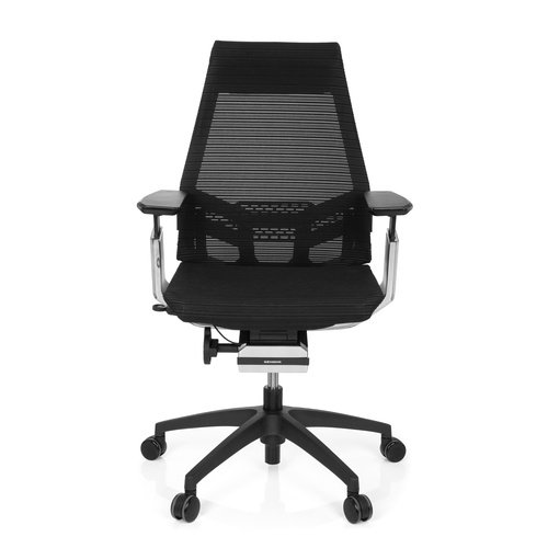 hjh OFFICE 652885 Bürostuhl Drehstuhl GENIDIA SMART Black cm, Netz-Stoff, Schwarz/Chrom, ergonomischer Schreibtisch-Stuhl mit verstellbaren Armlehnen für das Büro, Synchron-Mechanik, Home-Office