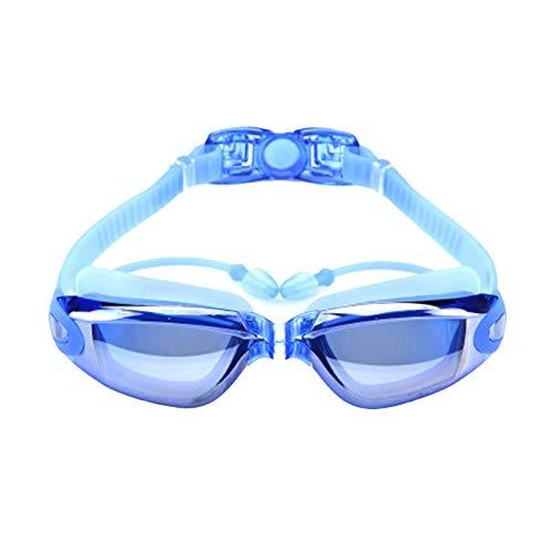 Gafas de natación antivaho Hd Unisex-Youth Junior Gafas de natación innovadoras tapones para los oídos de una sola pieza, color azul
