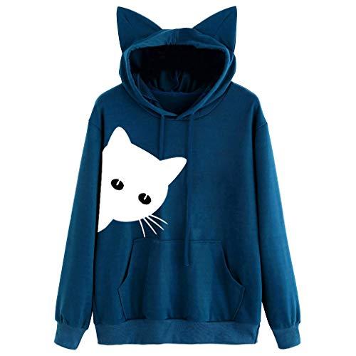 OSYARD Damen long sleeve Knitwear y-04 blau (mit kapuze) xxl