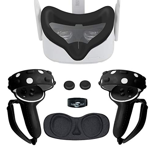 Touch Controller Grip Cover, VR Silicone Face Mask, Pad Set for Oculus Quest, Premium Silicon Protective Accessories Anti-Throw Sweatproof Lightproof - 3 Pack