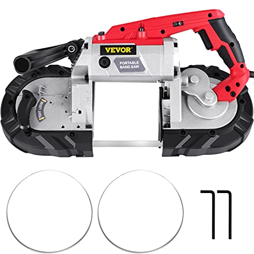 VEVOR Portable Band Saw, 5Inch Cutting Capacity Cordless BandSaw, Variable Speed Hand held Band Saw,10Amp Motor Portable Bandsaw, Deep Cut Bandsaw for Metal Wood Tubing Pipes Rebar and Plastic
