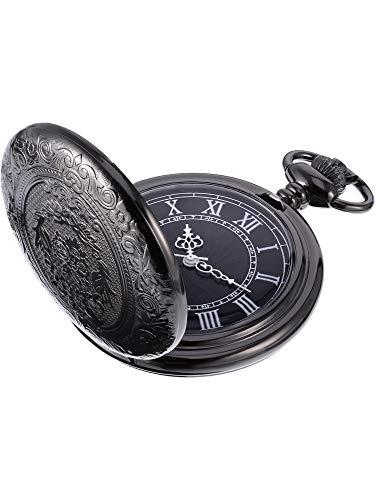 Orologio da Taschino al Quarzo per Uomo con Quadrante Nero e Catena (Nero)