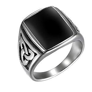 JewelryWe Schmuck Herren-Ring, Irischen Dreiecksknoten Trinity Keltisch Knoten Siegelring Edelstahl Emaille Ringe, Schwarz Silber, Größe 65