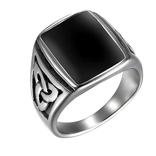 JewelryWe Schmuck Herren-Ring, Irischen Dreiecksknoten Trinity Keltisch Knoten Siegelring Edelstahl Emaille Ringe, Schwarz Silber, Größe 71