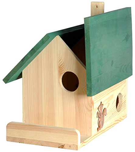 dobar Insektenhotels 22218e Hochwertige Eichhörnchenkobel mit 3 Eingängen, Terrasse und Zier-Hörnchen (Eichhörnchenhaus)