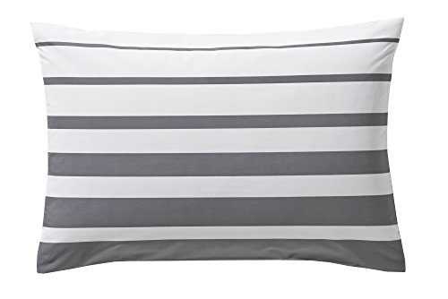 Blanc des Vosges Grand Large Taie rectangle Acier 50 x 75 cm - Percale 100% coton