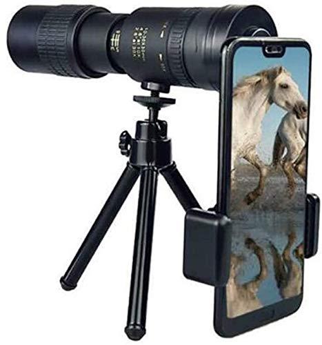 TEPET 4k 10-300x40mm Monokular-Teleskop, Zoom Wasserdichtes, beschlagfreies, verstellbares Monokular mit Smartphone-Halter und Stativ für Die Vogelbeobachtung im Freien