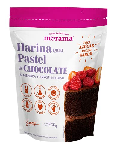Morama Harina para Pastel Sabor Chocolate Hecha con Harina de Almendra y Arroz Integral para Pastelería, Sin Conservadores y Vegano, 400 Gramos