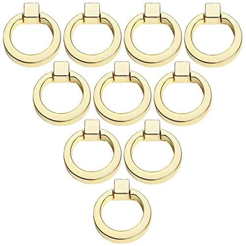 Creatwls 10pcs Mode Schrankgriffe Zugringen Knopf/Griff mit Ring für Küche Wohnzimmer Deko, Gold