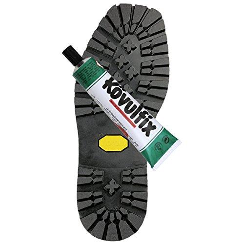 Vibram Langsohle mit Absatz Vibram 1136 + Kövulfix 60g Schuhkleber zur optimalen Schuhreparatur (43/44)