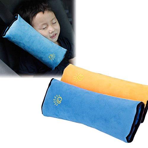 Amaoma Set de 2 Tapis de Ceinture de Sécurité, Enfants / Bébé Sécurité Siège de voiture Oreiller Soutien du cou tête pour enfant ou adulte, Bébé Seat Ceintures Clip (Jaune, Bleu)