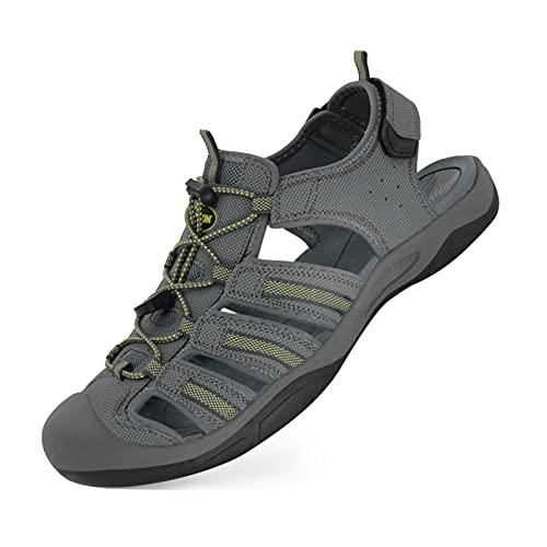 GRITION Sandalias de trekking para hombre, sandalias de senderismo, tallas para exterior, deporte, senderismo, secado rápido, para verano, playa, etc., gris amarillo, 45 EU