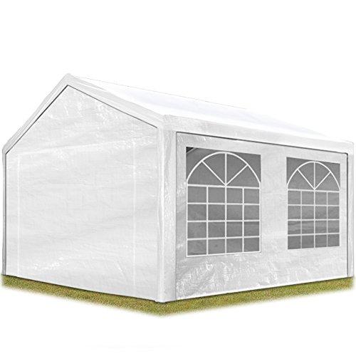 TOOLPORT Partyzelt Pavillon 3x4 m in weiß 180 g/m² PE Plane Wasserdicht UV Schutz Festzelt Gartenzelt
