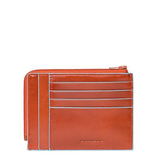 Piquadro PU1243B2 Portafoglio, Collezione Blu Square, Arancione
