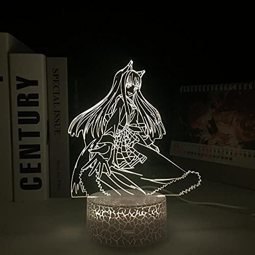 3D-Illusionslicht LED Nachtlicht Spice And Wolf Anime Charakter Acryl Weiß Sockel Schlafzimmermöbel Manga Geburtstagsgeschenk Jungen Und Mädchen Nachttischlampe