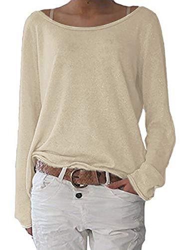 ZANZEA Damen Langarm Lose Bluse Hemd Shirt Oversize Sweatshirt Oberteil Tops Hellbeige EU 44/Etikettgröße L