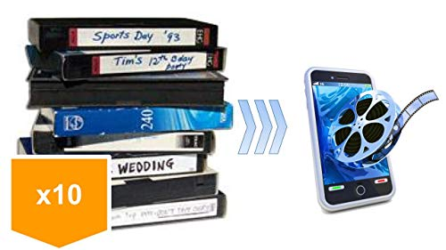 10 Pack - Video Tape Transfer and Digitization to MP4 Service (VHS, Hi8, MiniDV, Digital8, VHS-C, Beta, Audio) by Lotus Media