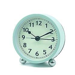 BIFULDYO 3 inches Silent Alarm Clock, Vintage Classic Battery Operated Travel Analog Clock(Light Green)