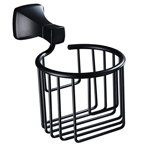 Estante de papel higiénico negro cesta de papel higiénico caja de papel higiénico sin perforación, apto para dormitorio, baño, inodoro, hotel, etc. (color: negro, tamaño: 20 x 13 x 11 cm)