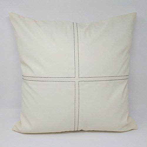 UK Care Direct Crème de Luxe Aspect Cuir Noir Point de Quart de Cercle Coussin, PVC, Noir, Cushion with Hollowfibre Pad