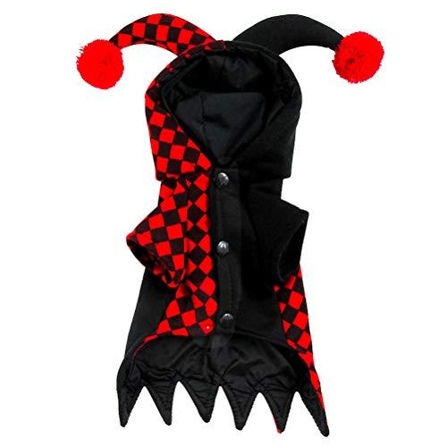 BESTOYARD Hond Kerst Jumpsuit Hond Clown Kostuum Huisdier Puppy Hoodies benodigdheden Zwart en Rood, L, Zwart en Rood