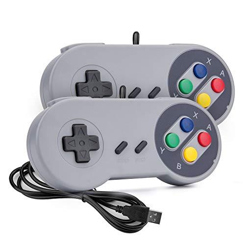 Rii Game Controller, SNES Retro USB Controller, Classic Gamepad Joystick, PC Super Classic Joypad Gamestick for PC, Raspberry Pi, Windows MAC Liunx, Android GP100 (Grey, 2 Pack)
