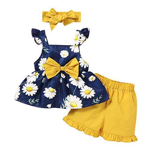Borlai Niños Niña Bowknot Floral Top + Pantalones Cortos + Diadema Ropa Traje 3Pcs / Set