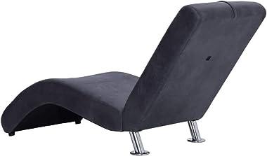 Festnight Fauteuil Chaise Longue Confortable   Chaise Longue Interieur   Chaise Longue en Similicuir Daim   Fauteuil Relaxant