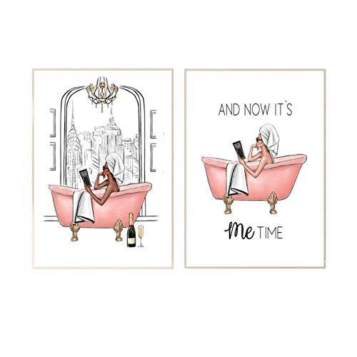 zhengchen Impresión en Lienzo Póster e impresión de It's Me Time Chica de Moda en la bañera Rosa Imagen Arte de la Pared Sala de Estar Decoración nórdica del hogar 50x70cm / 19.6'x27.5 x2 Sin Marco