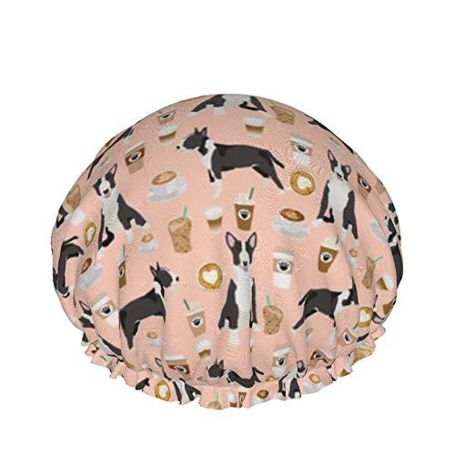 Gorro de ducha, extra grande, ajustable y de doble capa impermeable para mujer, gorro de pelo para mujer, color toro terrier, café, café, perro raza)