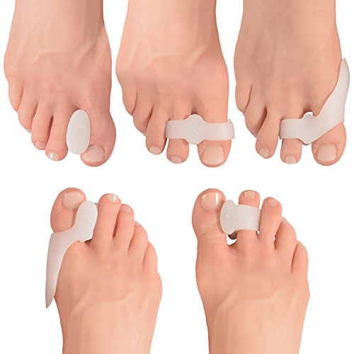 SET OF 14 BUNION PADS & TOE STRAIGHTENERS: 2 Standard Shield Spacers | 2 Standard Toe Spacers| 2 Sport Shield Spacers | 2 Sport Toe Separators | 6 Gel Toe Separators - Made from super soft flexible gel. DESIGNED FOR AN ACTIVE LIFESTYLE: We know that ...