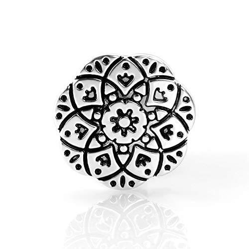 KT-Schmuckdesign Schiebeperle für Lederarmbänder, Ornament Symbol, aus Metall