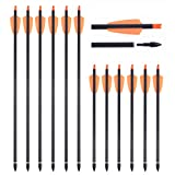 SHARROW 12 Piezas Flechas de Ballesta 15 Pulgadas 7.3 Pulgadas Flechas de Carbono Pernos Flechas para Ballesta Spine 350 (Naranja, 15')
