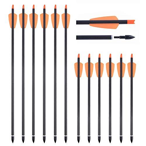 SHARROW 12 Stück Armbrustpfeile 15 Zoll Carbonpfeile Armbrustbolzen 7.3 Zoll Spine 350 Bolzen für Armbrust mit 100 Grains Pfeilspitzen für die Bogenschießjagd (Orange, 7.3
